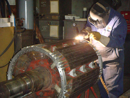 TUNNEL MOTOR FROM SHIP – REPLACE CUSTOM MANUFACTURED ROTOR BARS, SUPPORT RINGS, INSTALLED AND WELDED